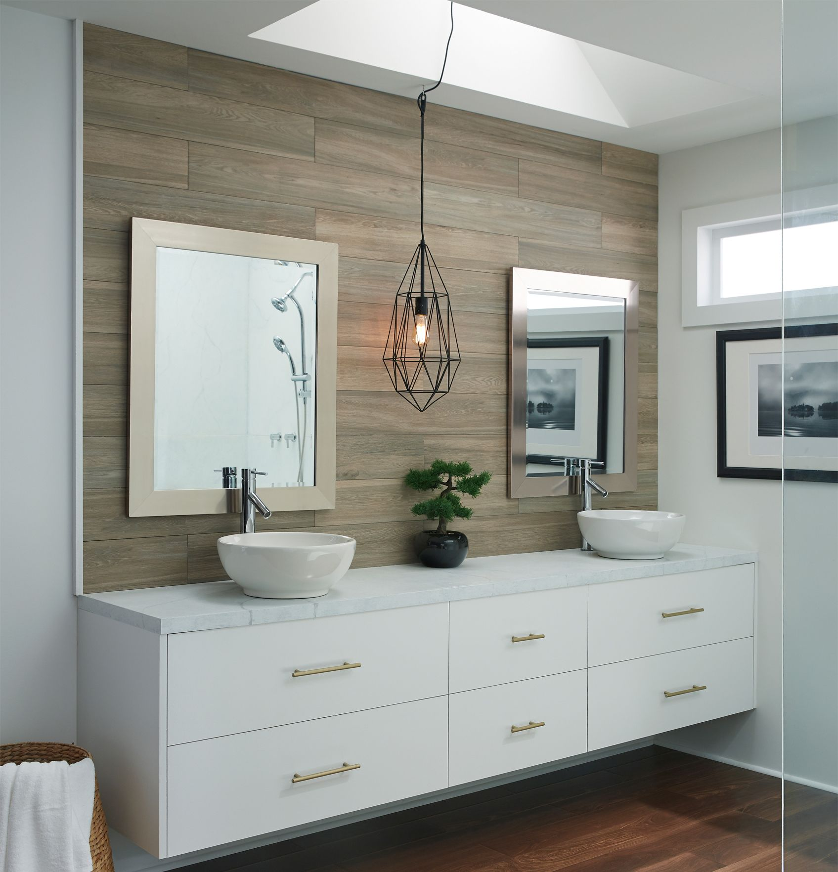 Easy Bathroom Upgrade That Accent Wall Is Cottage Wood Ash Wood Look Tile Wood Look Tile Bathroom Wood Accent Wall Wood Wall Tiles
