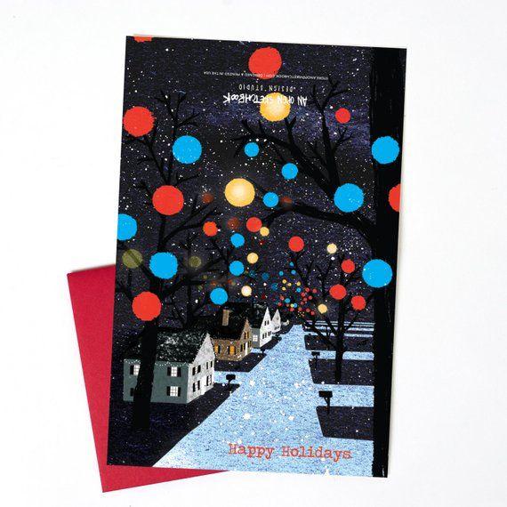Christmas Card, Christmas Lights Single Holiday Card, Greensboro