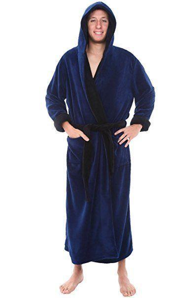Mens Hooded Bathrobe Navy Blue Fleece Large Extra L Full Length Long Spa  Robe  DelRossa  Robes ad2167d79
