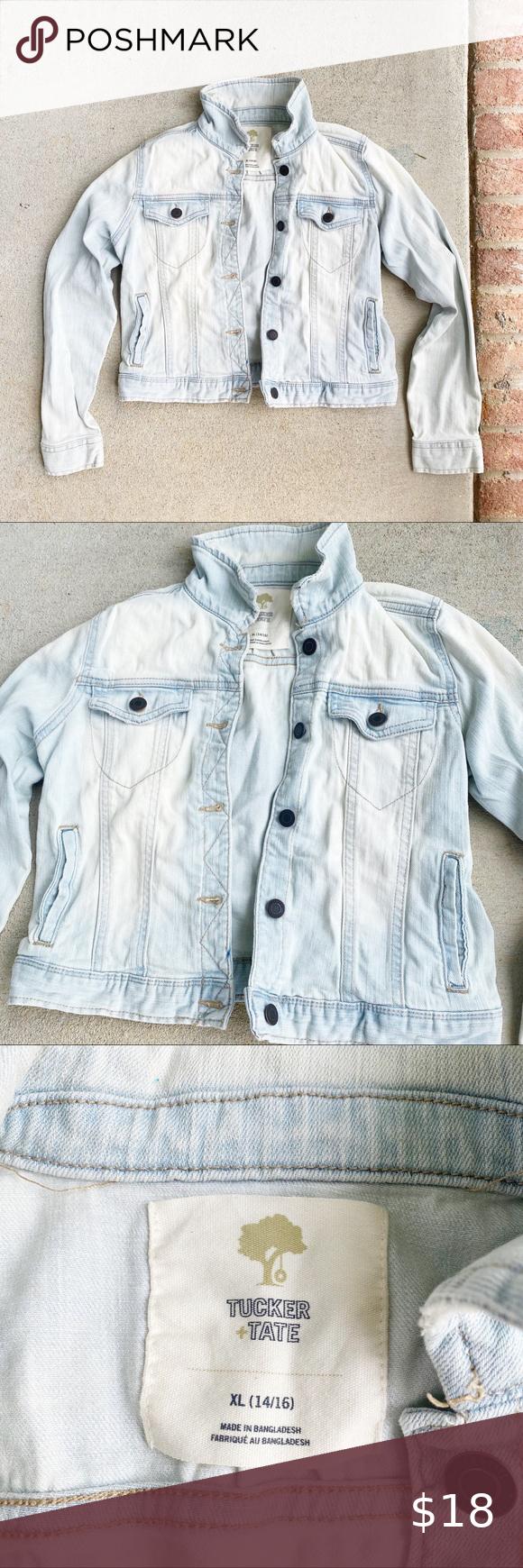Tucker Tate Girls Xl Faded Denim Jacket Faded Denim Denim Jacket Jackets [ 1740 x 580 Pixel ]