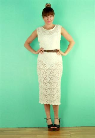 New Cream Lace Midi Dress from Bags 2 Bitches