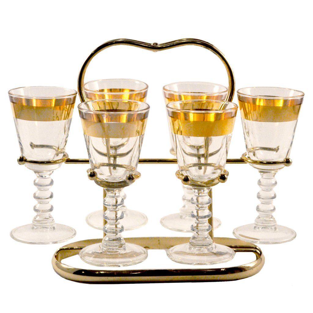 Unique Mid Century Vintage Gold Band Cordial Liqueur Glass Caddy