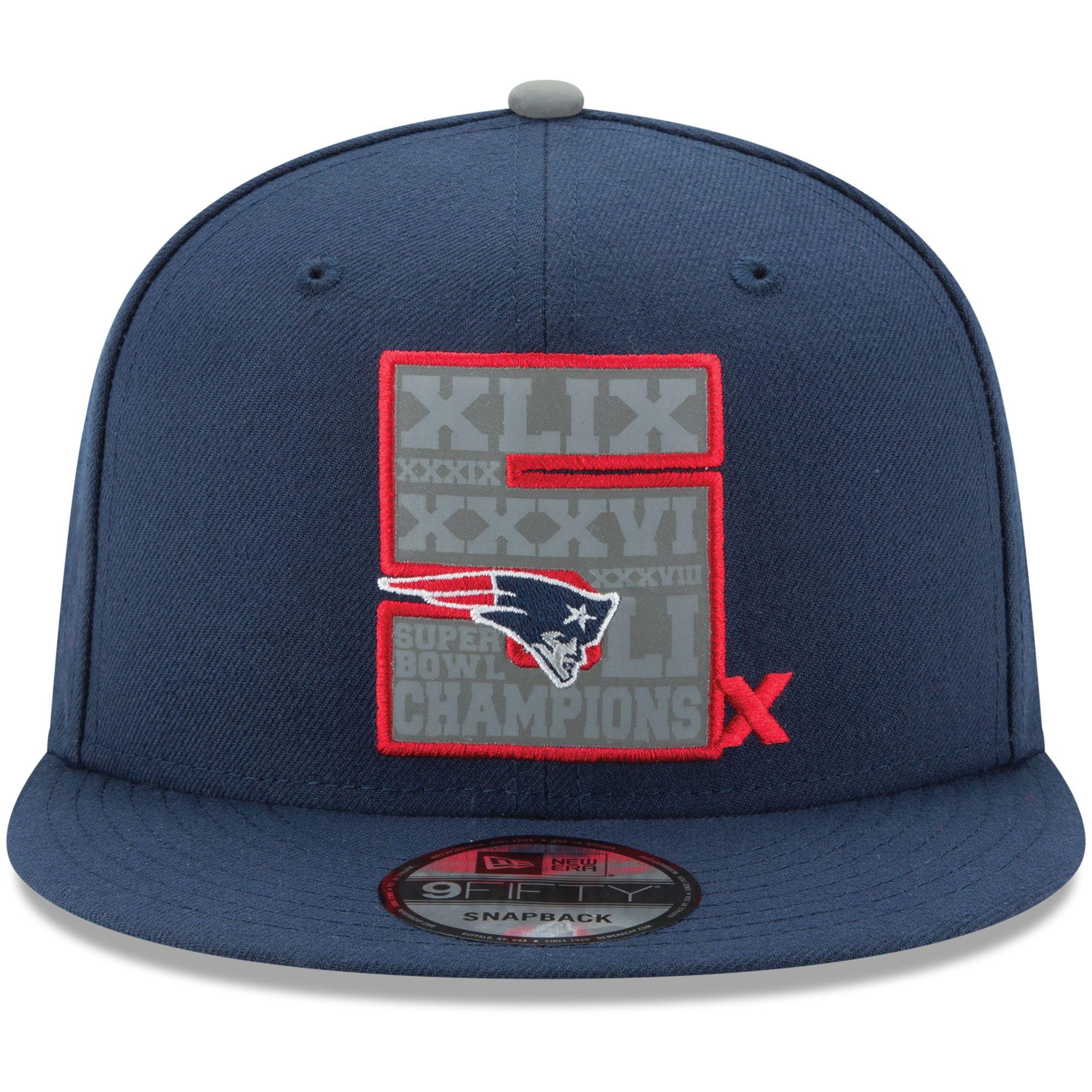 b35ff524842 New Era New England Patriots Navy 5-Time Super Bowl Champions 9FIFTY  Snapback Adjustable Hat