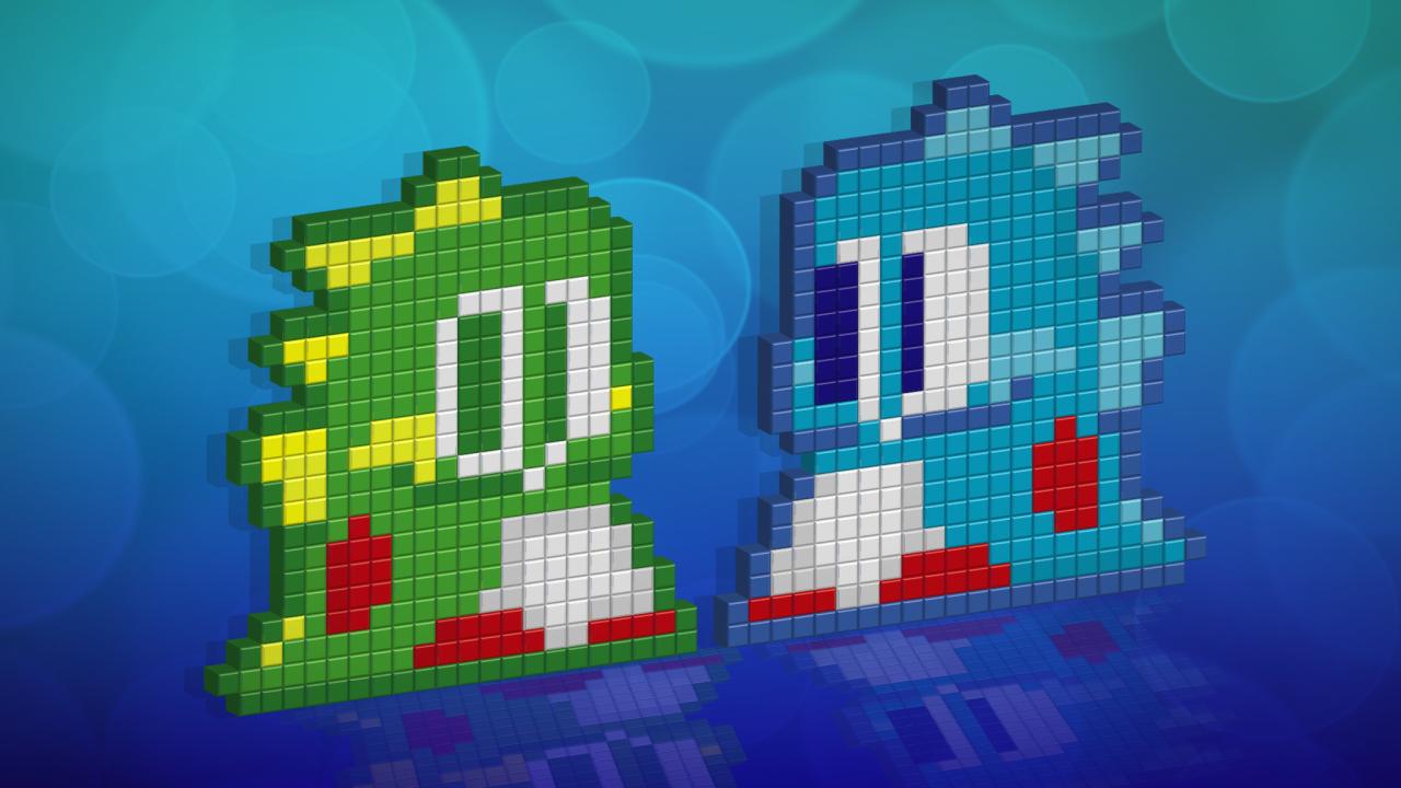 Ilustraciones de los dragones protagonistas del juego Bubble Bobble y Puzzle Bobble