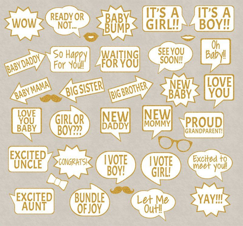 picture about Baby Shower Photo Booth Props Printable identified as 35 x Gold Glitter Impact Little one Shower Printable Image Booth