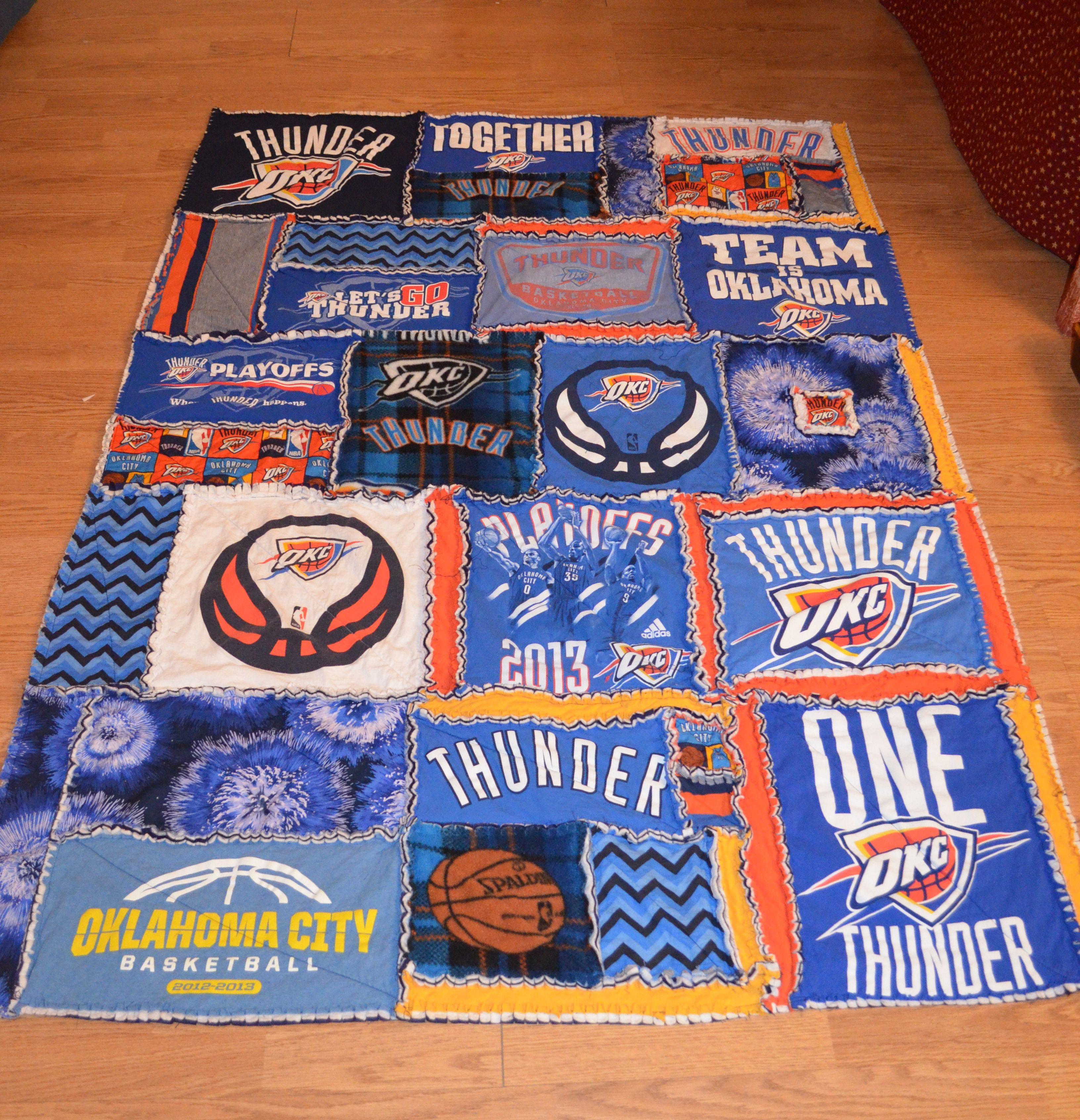 NBA Team OKC Thunder T-Shirt Rag Quilt | Rag Quilting Obsession ... : tshirt rag quilt - Adamdwight.com