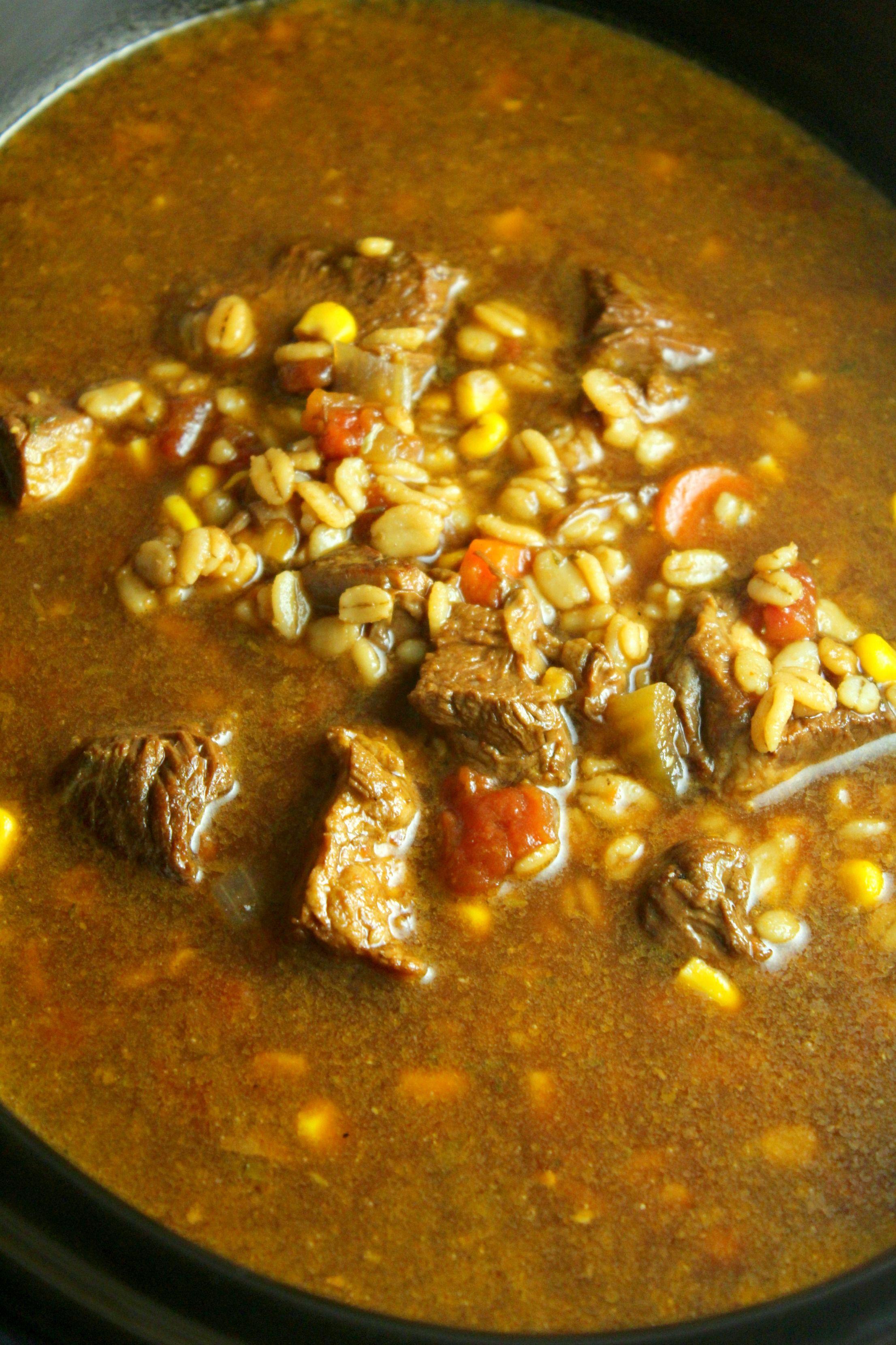 Homemade slow cooker beef barley soup recipe beef