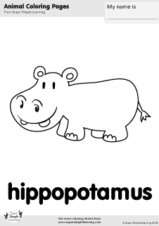 Free hippopotamus coloring page from Super Simple Learning