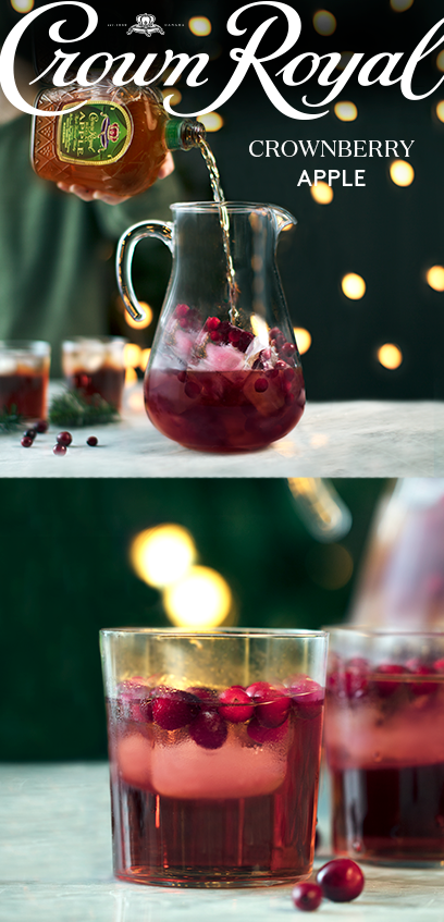 'Tis the season for holiday parties filled with Crown cocktails. Stock up on the crisp flavor of Crown Royal Regal Apple and keep your guests happy with a seasonal recipe in the Crownberry Apple. In a pitcher filled with ice, combine 12 oz Crown Royal Regal Apple with 32 oz cranberry juice. Stir well, garnish with lime, and say a prayer for a little purple bag under the tree.