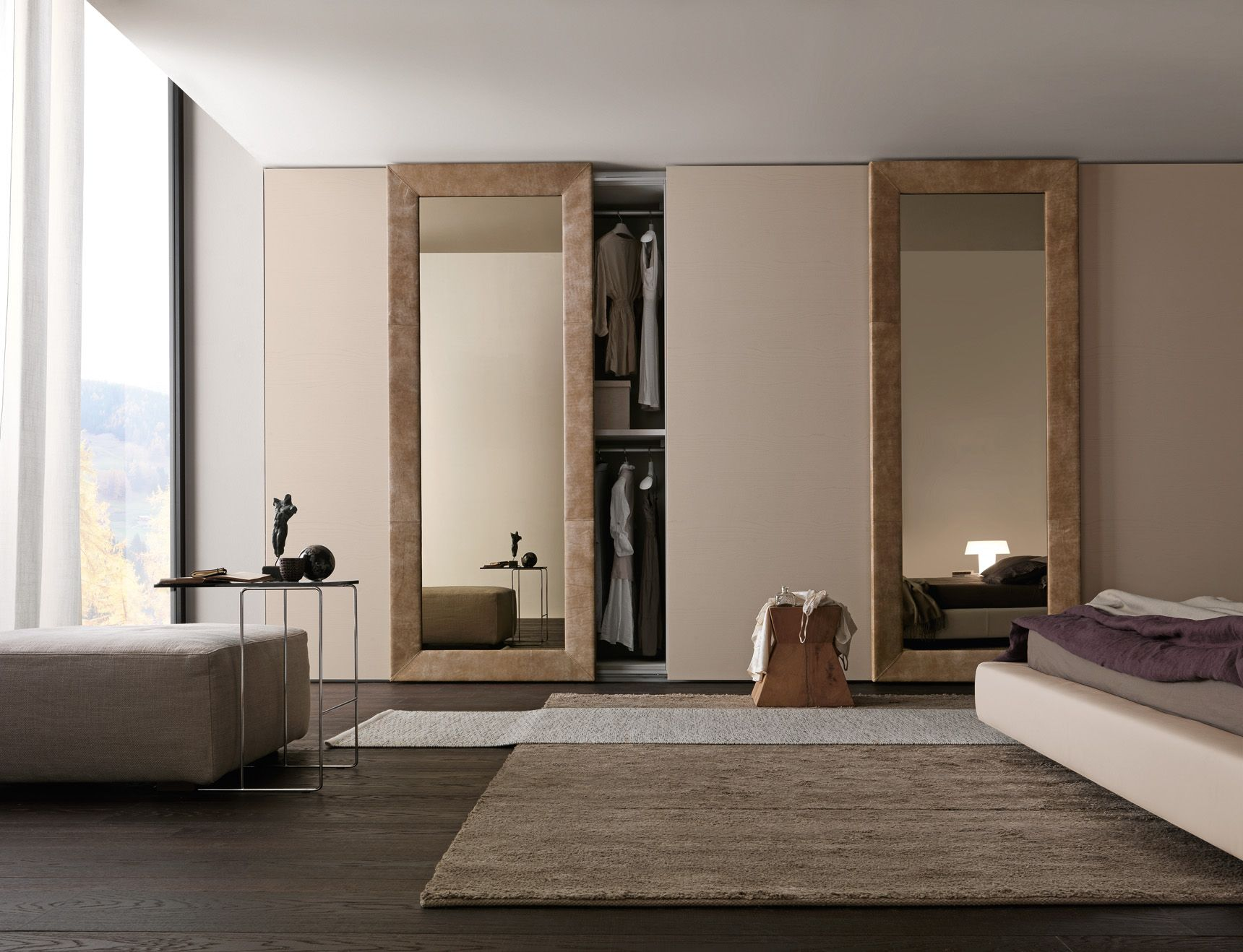 PRESOTTO    Wardrobe with Liscia sliding doors in corda color wood and Mirror  door with. PRESOTTO    Wardrobe with Liscia sliding doors in corda color wood