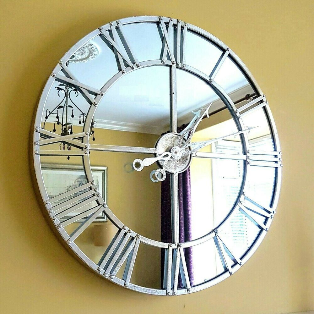 Mirrored Wall Clock Skeleton Style Silver Finish Large 80cm Contemporary Clock Rphomeessentials Contemporary Mirror Wall Clock Silver Wall Clock Wall Clock