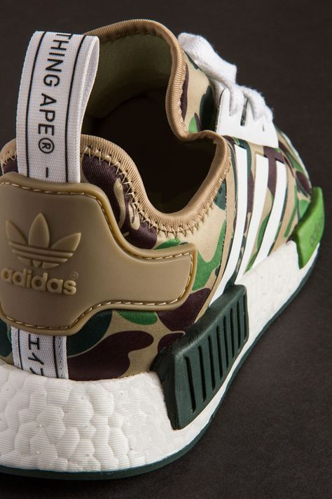 Adidas NMD R1 Bape Olive Camo, Men's Fashion, Footwear