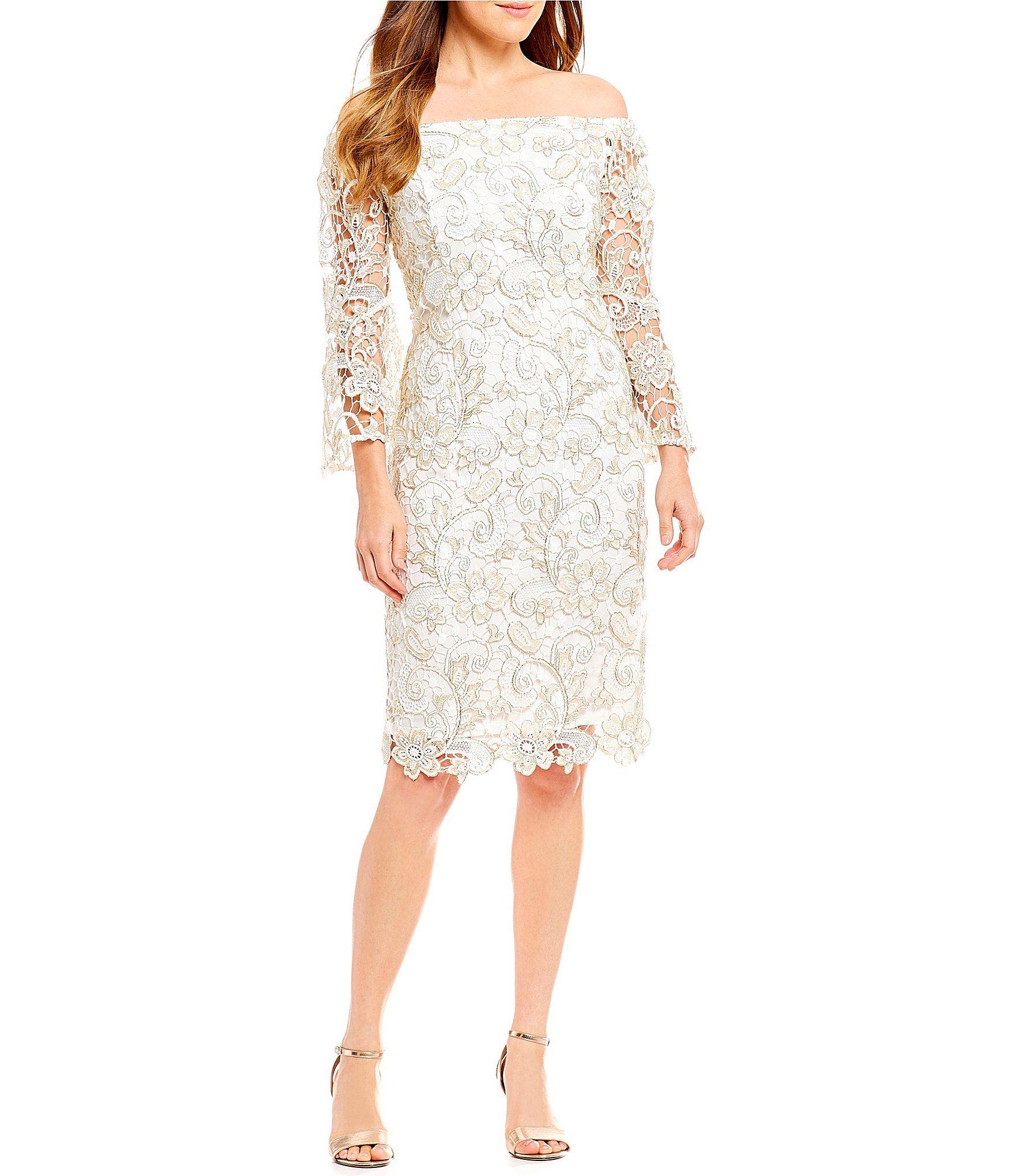 Wedding dresses dillards  Shop for Marina OfftheShoulder Lace Bell Sleeve Dress at Dillards