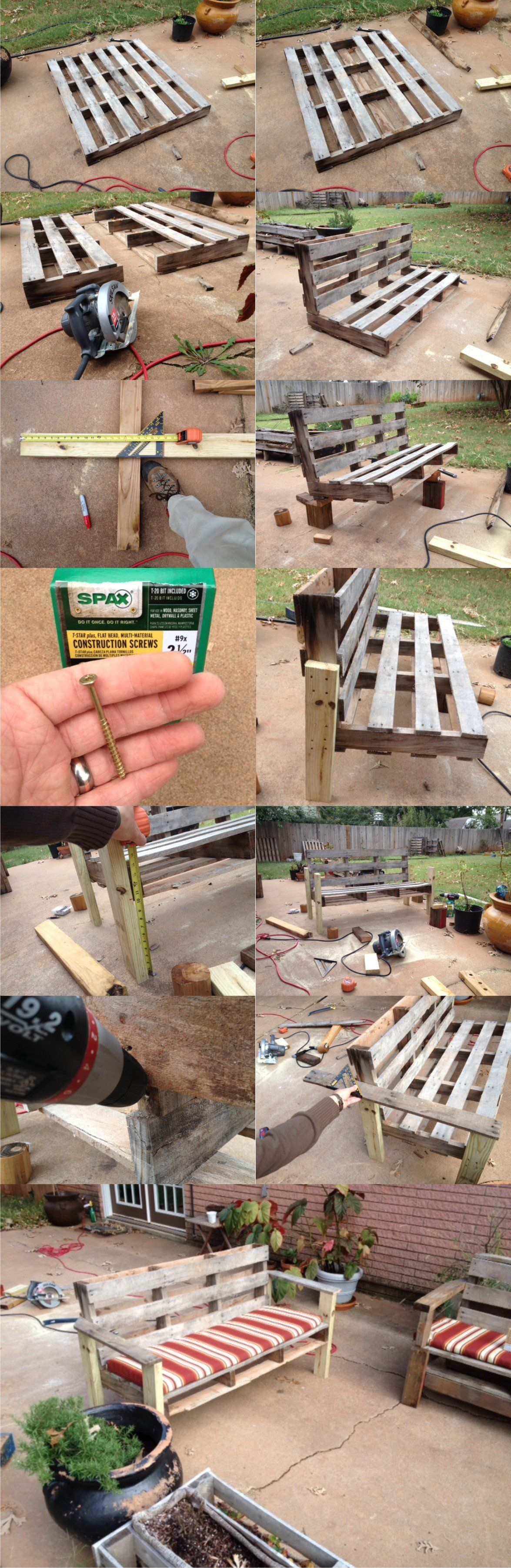 recycled pallet outdoor bench Pallet wood ideas Pinterest