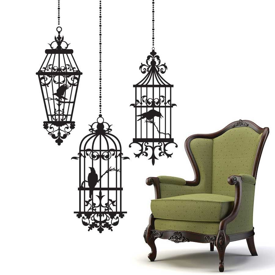 Gothic style Birdcages with Ravens Halloween Wall decals ...