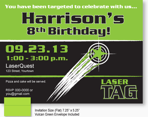 shooting target laser tag invitations plus we have matching glow, party invitations
