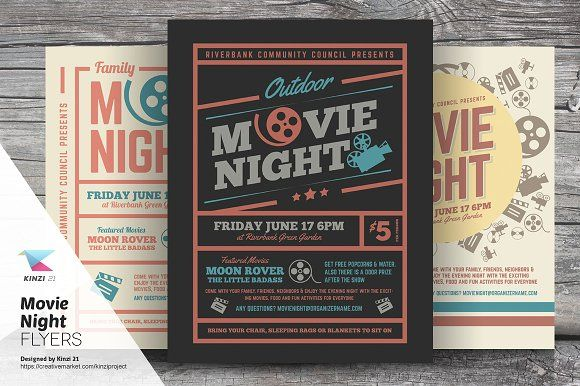Movie Night Flyer Templates By Kinzi On Creativemarket