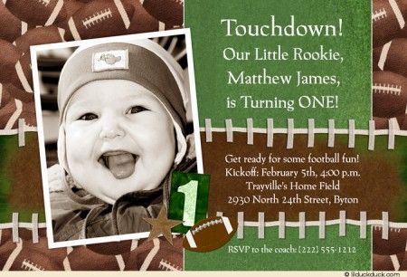 Football Game Party Invitation Touchdown Rookie ONE Football