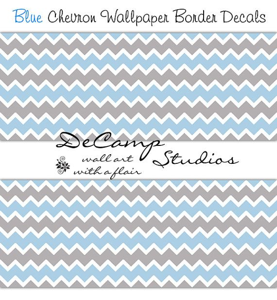 Blue Grey Gray Chevron Wallpaper Border Wall Decals For Baby Boy