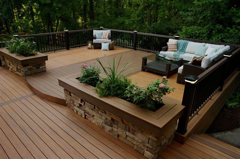 Browse Composite Decking Railing And Fencing Photos Timbertech Stone Combo Deck Designs Backyard Small Backyard Decks Wooden Deck Designs