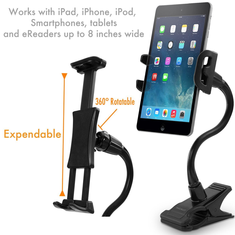 Clip mounting ipad holder cradle travel friendly tablet holder