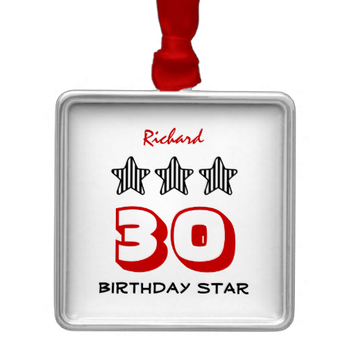 30th Birthday or ANY AGE Striped Stars Custom Name Christmas Tree Ornaments   To see more customizable striped Jaclinart gift items:   http://www.zazzle.com/jaclinart+striped+gifts?st=date_created&ps=120  #stripes #striped #pattern #jaclinart #design #create