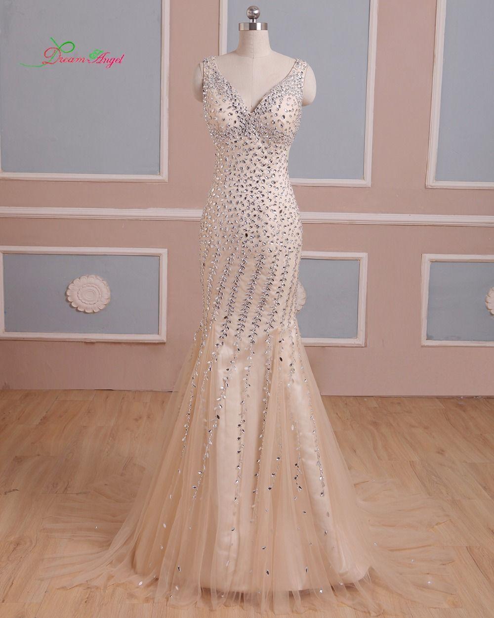 Click to buy ucuc dream angel elegant v neck long mermaid prom dresses