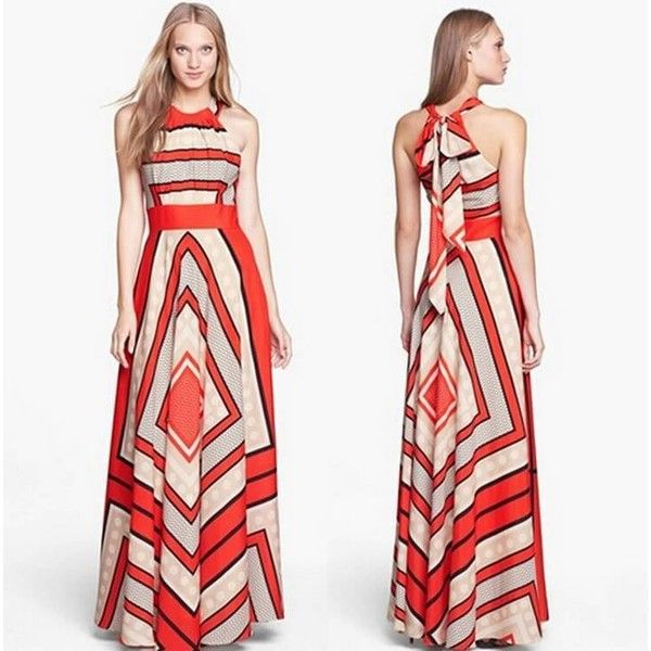 White Chiffon Front Silt Casual Style Backless Halter Top: Red Halter Self-Tie Striped Maxi Dress (87 PLN) Liked On