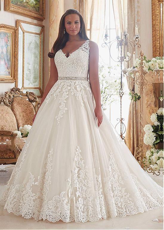 Graceful Tulle V Neck Neckline Ball Gown Plus Size Wedding Dresses
