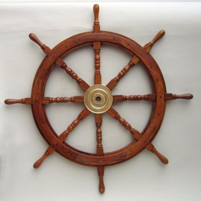 Classic Wooden Ship Wheel Brass Cap 36 Ship Wheel Decor Ship Wheel Boat Decor
