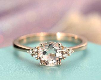 Morganite engagement ring rose gold Unique cluster