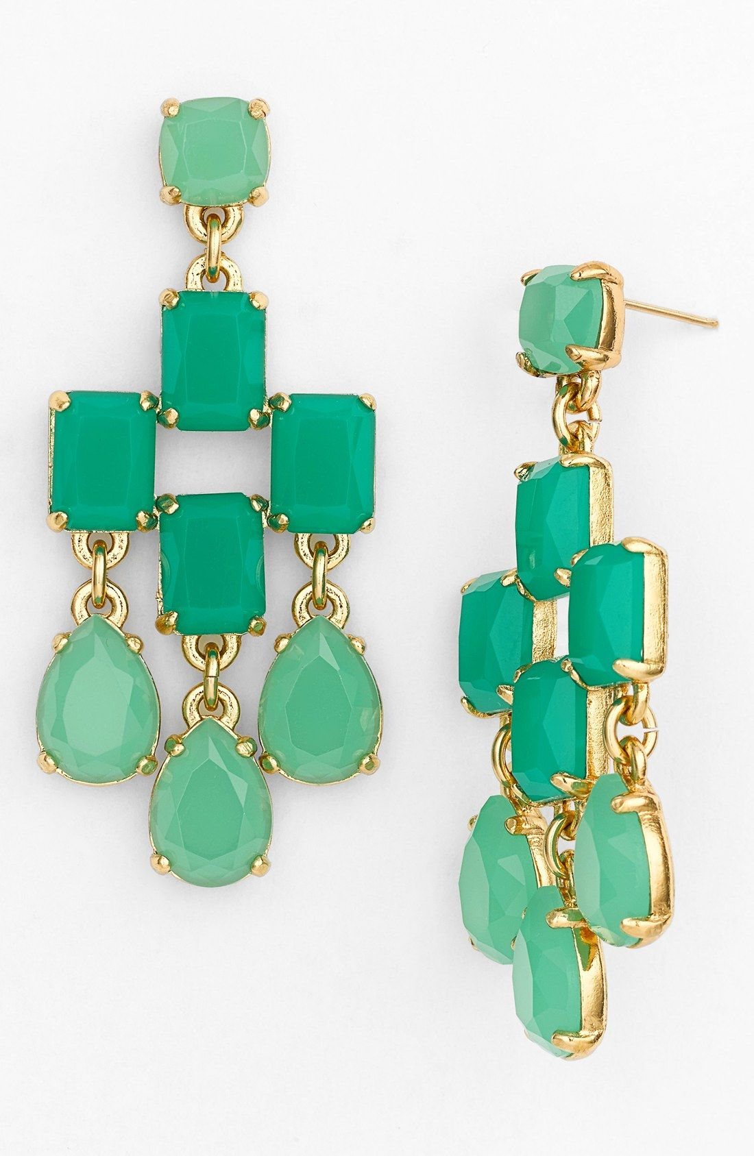 Colorful chandelier earrings to pair with the little black dress.