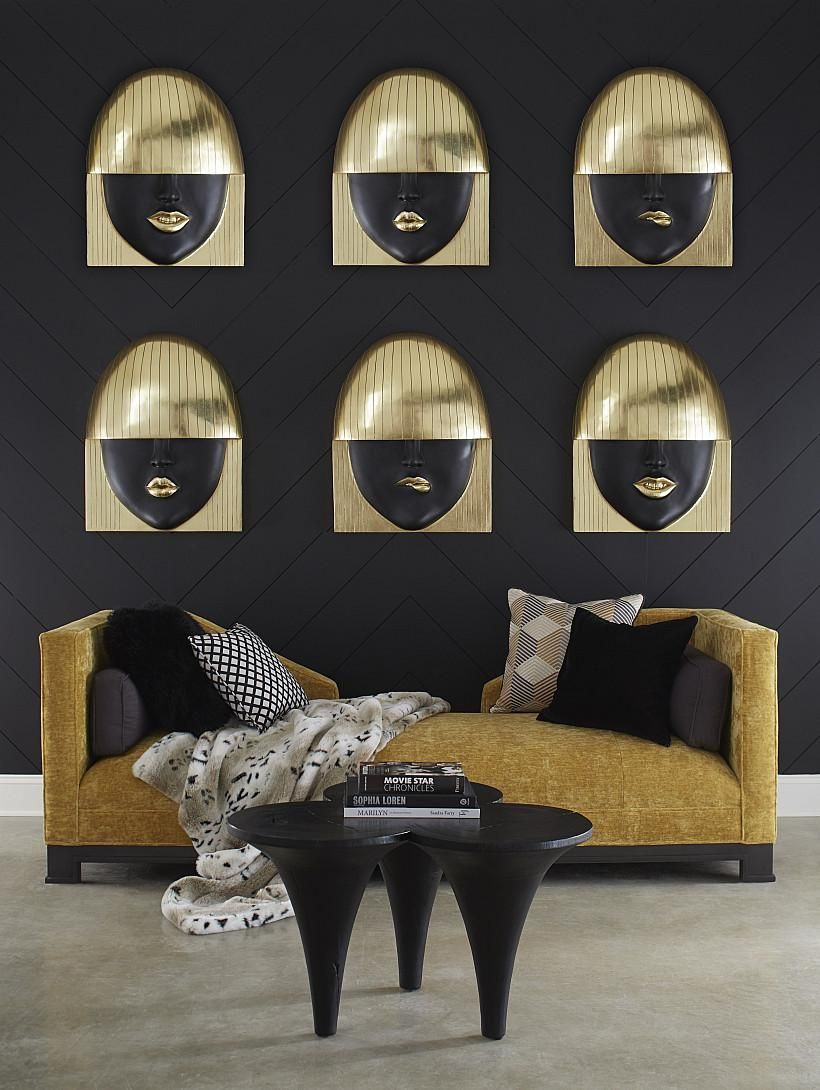 Dimensional Wall Tiles Facial Design In Gold Pieces By Phillips