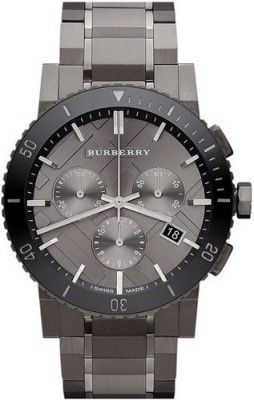 97b0e57dbba Relógio Burberry Chronograph Gunmetal Dial Grey Ion-plated Stainless Steel  Mens Watch BU9381  Relogio  Burberry