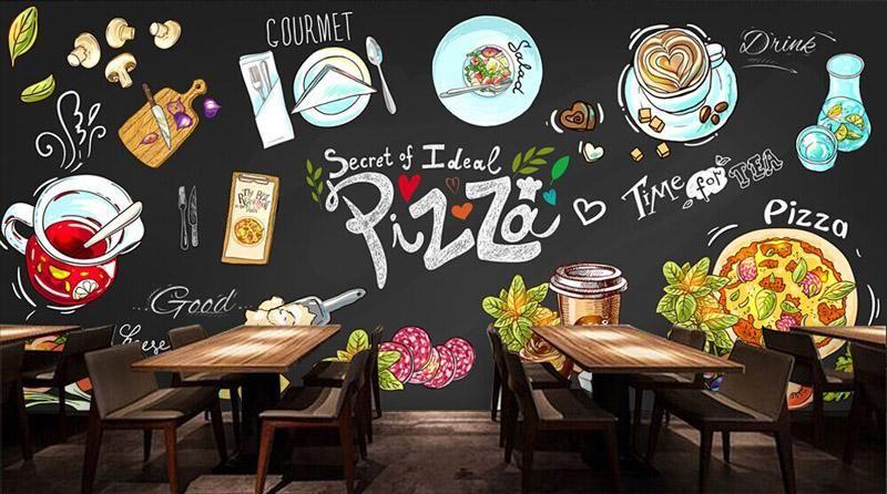 Custom 3d Wallpaper For Walls 3d Pizza Shop Wall Mural Food Drink