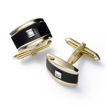 Black Onyx and Diamond Cuff Links, 14K