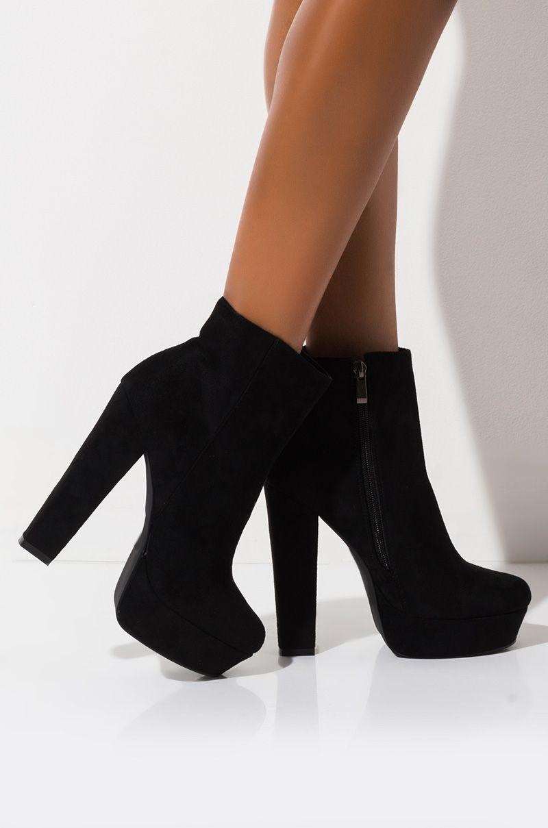 AZALEA WANG Faux Leather High Chunky Platform Heel Booties in Black Suede, Burgundy PU