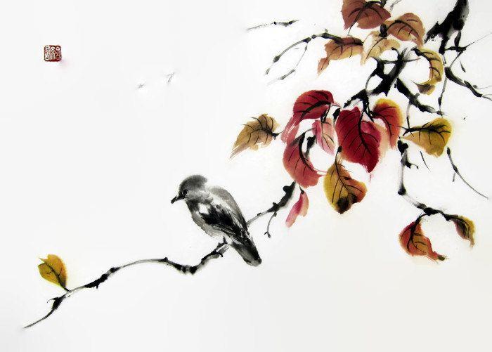 Sakura Japanese Ink Painting On Rice Paper 17x26 By Suibokuga