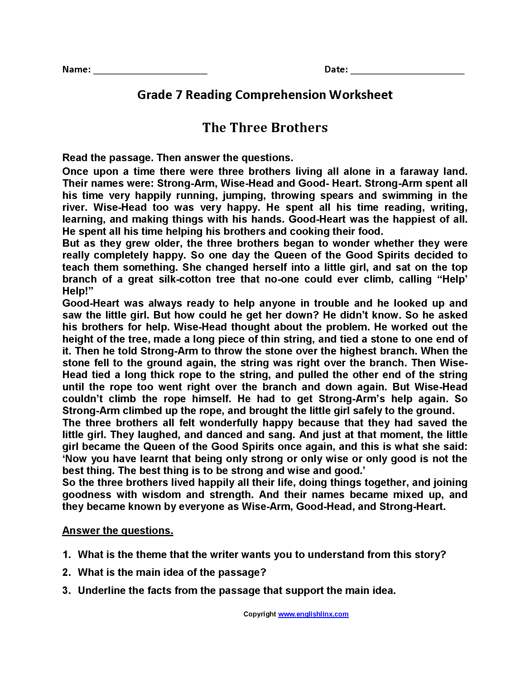 Three Brothers Seventh Grade Reading Worksheets