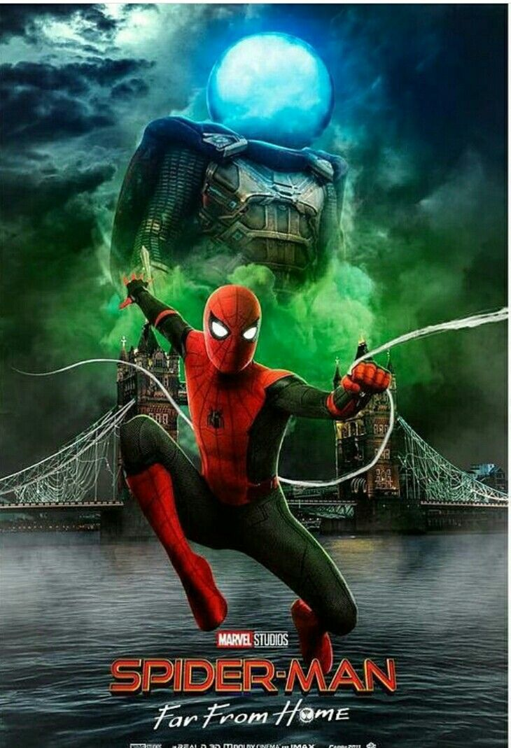 SpiderMan Far From Home poster with Mysterio and Spider