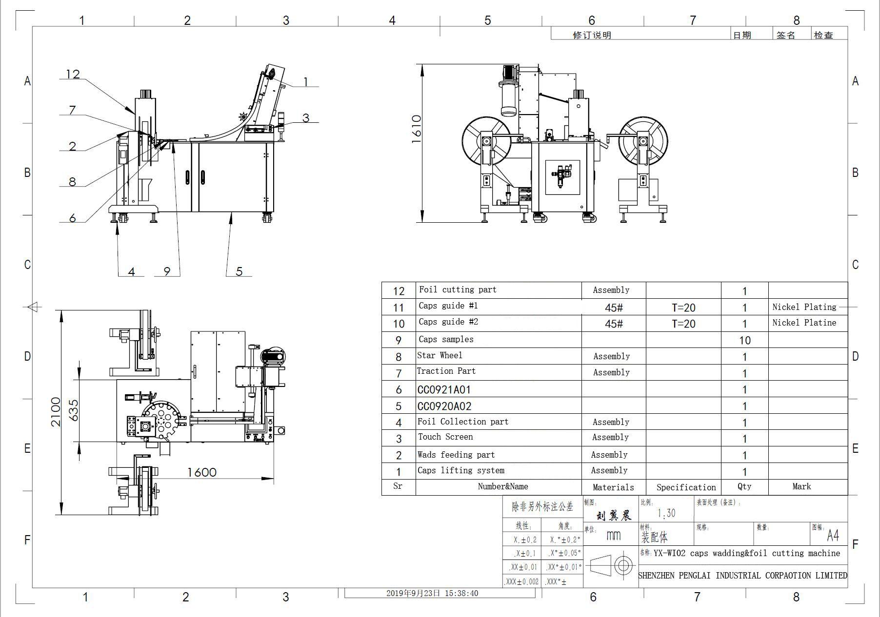 Basic Parameters Of Model Yx Wi02 Caps Wadding Machine