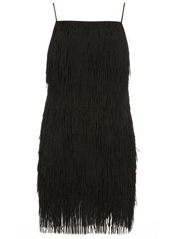 Black lazer cut tassle dress
