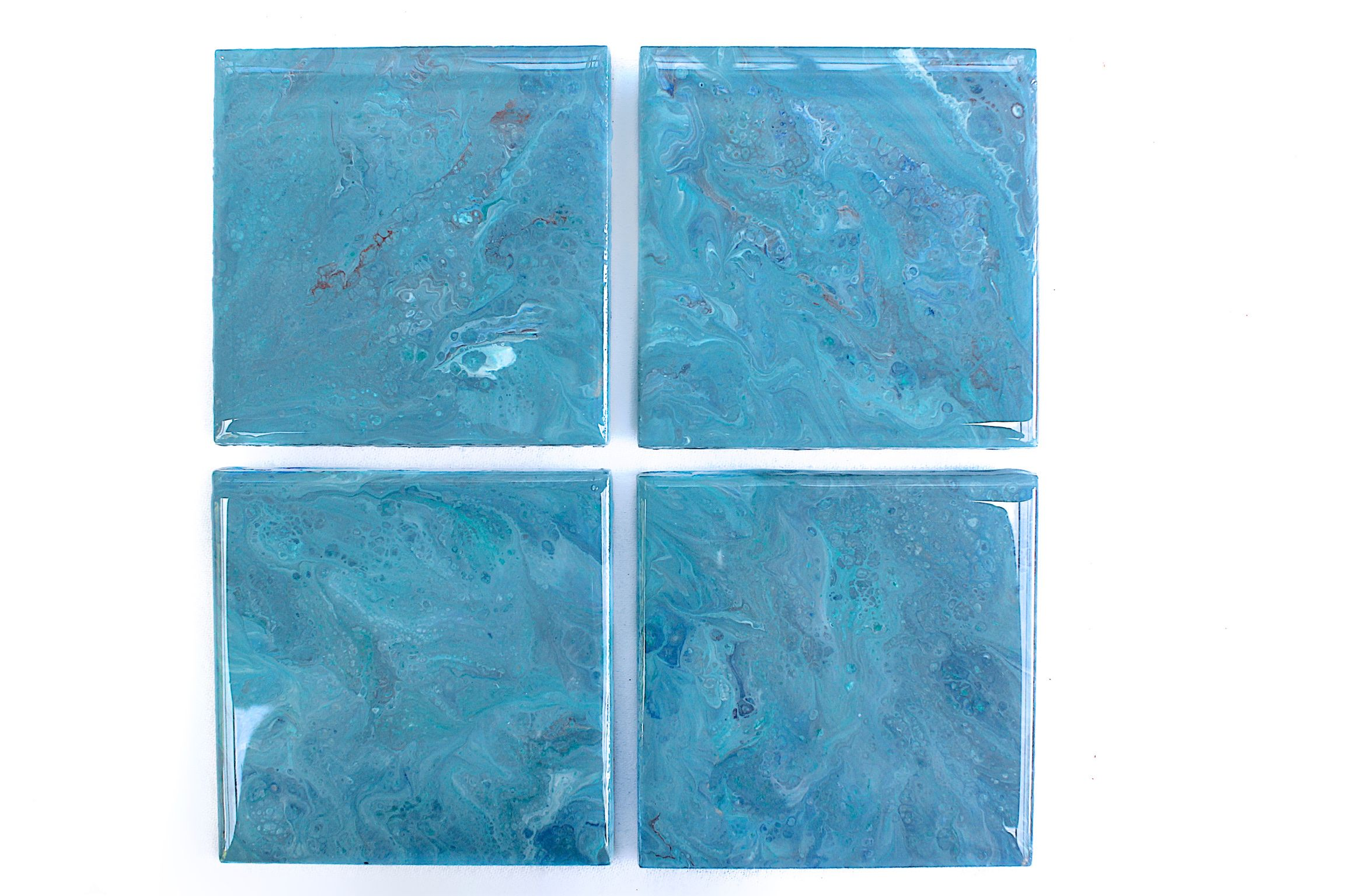 Gorgeous Blue Hand Painted Ceramic Tile Coasters With A Coat Of Glass Like Resin Painting Ceramic Tiles Ceramic Tile Coaster Hand Painted Ceramics