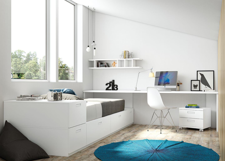 Dormitorio juvenil cama nido con escritorio  ANTAIX ORIGAMI  Dormitorios juveniles Habitaciones juveniles y Habitaciones infantiles