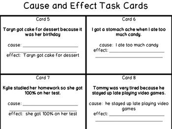 Cause & Effect Task Cards For a station or teacher table?