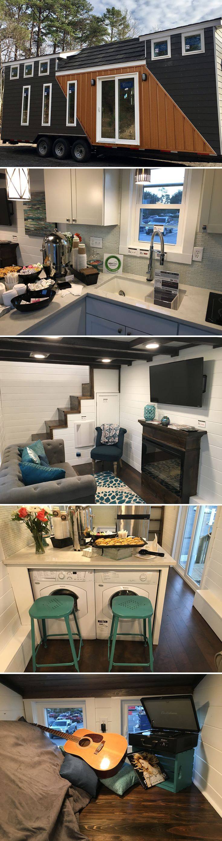 A 28' two bedroom tiny house by Alabama Tiny Homes. The stairs to the bedroom lofts are located along the far walls, which help open up the living space.