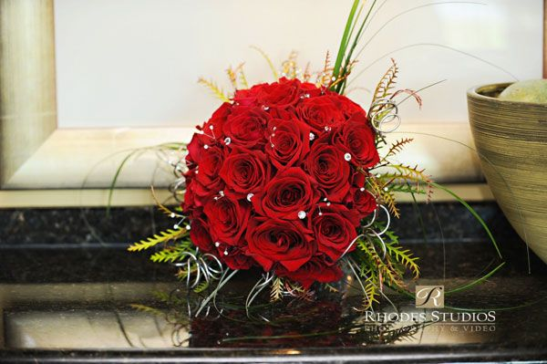 Jewelled rose bouquet. (flowers by Lee Forrest Design, photo by: Rhodes Studios Photography)
