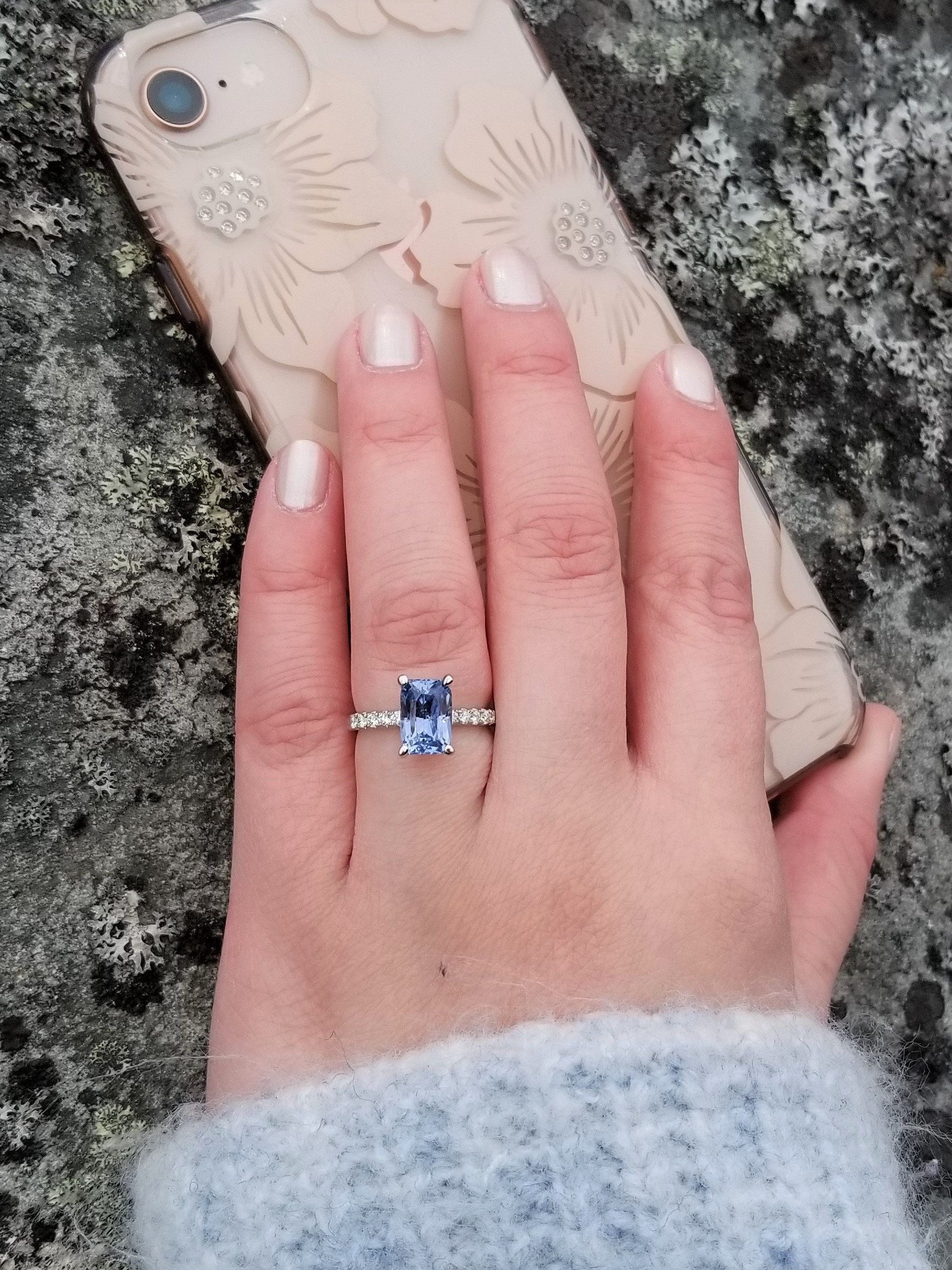Platinum Blue Sapphire Engagement Ring with 2.7ct Radiant Cut ...