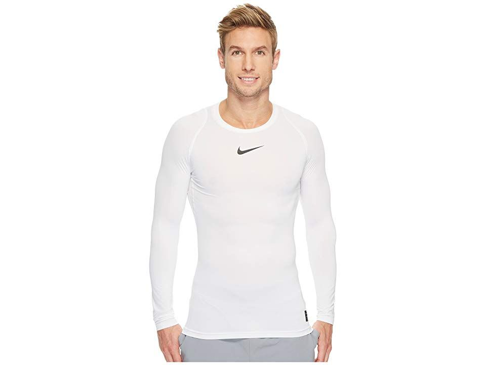 3991c5e0709d Nike Pro Compression Long Sleeve Training Top (White Black Black) Men s Long