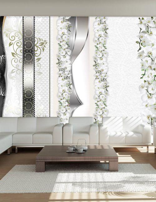 Carta da parati decorazioni di orchidee grigio carta da for Carta parati natura